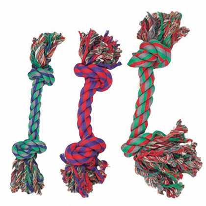 Игрушка для собак Cotton Knot Mini Karlie Flamingo, веревочная кость, 2 узла, маленькая, 14см, 3шт фото