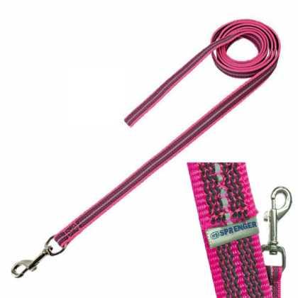 Поводок без ручки для собак Sprenger прорезиненный, нейлон, неоново-розовый, 2х1000см фото