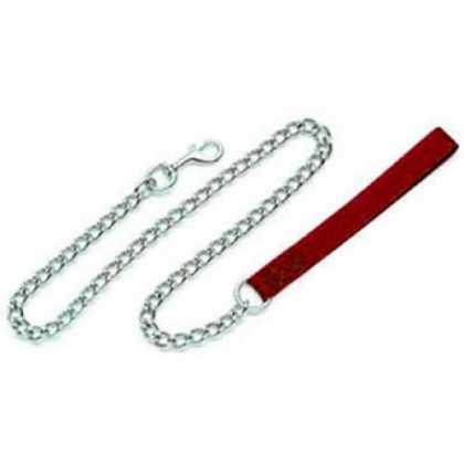Поводок-цепочка Coastal Titan Chain тонкий для собак красный 2мм Х1,2м фото