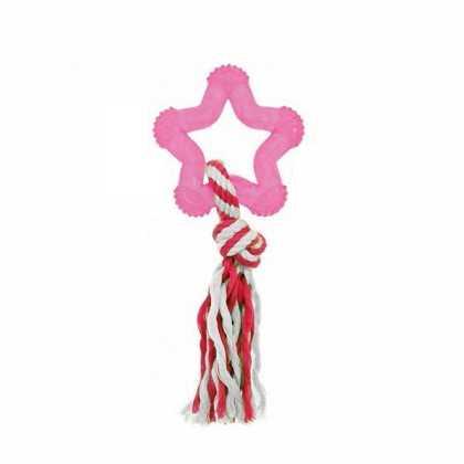 Игрушка для собак Good4Fun Star With Rope Karlie Flamingo, звезда, с веревкой, латекс, 8см фото