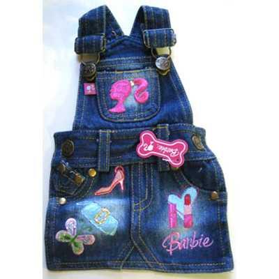 Одежда для собак MonkeyDaze Barbie Denim Overall Dress, котоновый комбез, M фото
