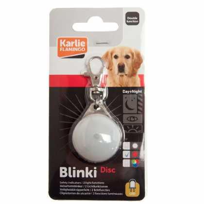 Светящийся брелок безопасности для собак Karlie Flamingo Blinki Disc, водонепроницаемый, белый, 35мм фото