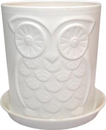Горшок Сова, 13х14х2,0, премиум белый, керамика, 10933326 фото