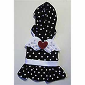 Одежда для собак MonkeyDaze Angel Wing Polka черное платье в белый горошек, M фото