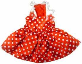 Одежда для собак MonkeyDaze Polka dot dress red, красное платье, XXS фото