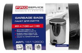 Пакеты для мусора полиэтиленовые, черные, 20л/100шт, PRO service, 16112600 фото