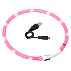 64907 Karlie Flamingo VISIO LIGHT LED ошейник светящийся для собак 70 см, розовый фото