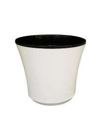 Горшок для цветов + кашпо, Ø 150 / Ø 160 - № 3, белый, пластик, 4807 фото