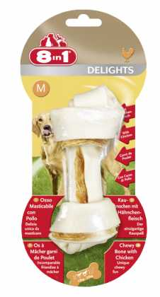 Кость для чистки зубов у собак 8in1 Delights Bones с мясом, 14см (M) фото