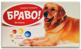 Витамины для собак крупных пород БРАВО, 100табл. фото