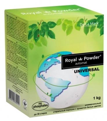 Бесфосфатный стиральный порошок универсальный с ароматом белых цветов, 1кг, Royal Powder фото