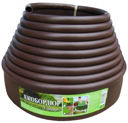Бордюрная лента Экобордюр стандарт (коричневая), 11см х 10м фото