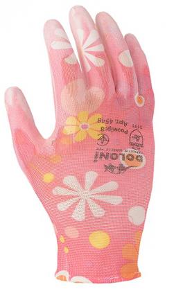 Перчатки для садовых робот с полиуретановым покрытием, розовые, Doloni, 4548 фото