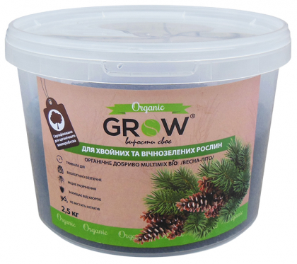 Органическое удобрение для хвойных и вечнозеленных культур ТМ Grow (Multimix bio), 2.5кг, Весна-Лето фото