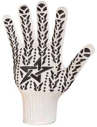 Перчатки с ПВХ Звезда белая-черная, 573 фото