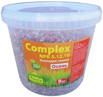 Комплексное минеральное удобрение для газона Complex (Комплекс), 9кг, NPK 5.12.16+МЕ, Осень, TM ROSLA (Росла) фото