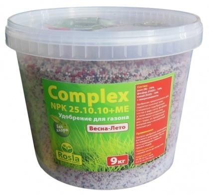 Комплексное минеральное удобрение для газона Complex (Комплекс), 9кг, NPK 25.10.10+ME, Весна-Лето, TM ROSLA (Росла) фото