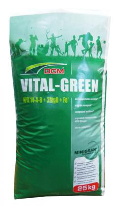 Органо-минеральное удобрение для газона DCM Vital-Green, 25кг, 14.4.8+3Mg+Fe, Весна-Лето, 3 мес. фото