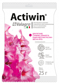 Комплексное минеральное удобрение для петуний, сурфиний, гераней и других цветущих растений Actiwin (Активин), 25г, NPK 9.16.14, Valagro (Валагро) фото
