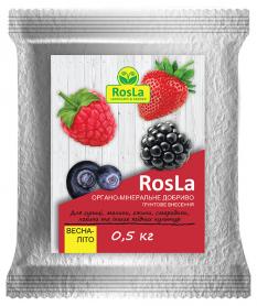 Органо-минеральное удобрение для земляники, малины, ежевики, смородины, голубики и других ягодных, 500г, Весна-Лето, NPK 5.5.5, TM ROSLA (Росла) фото