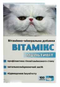 Витаминно-минеральная добавка для кошек Витамикс Мультивит, 100табл. фото