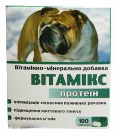Витаминно-минеральная добавка для собак Витамикс Протеин, 100табл. фото
