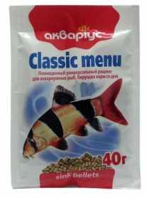 Корм для рыб Аквариус Классик меню донный, 40г фото