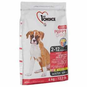 Сухой корм для щенков всех пород 1st Choice Puppy Sensitive & Skin Coat со вкусом ягненка и океанической рыбы, 6кг фото