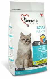 Сухой корм для взрослых котов 1st Choice Healthy Skin&Coat Adult со вкусом лосося, 5.44кг фото