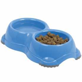 Двойная миска для собак и кошек Moderna Smarty №1 пластик, бирюза, 2х330мл, d-11см фото