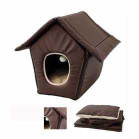 Домик трансформер для кошек и собак малых пород на молнии коричневый Flamingo Cosy Cottage Brown, 40х40х25см фото