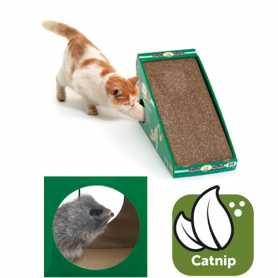 Наклонная когтеточка для кошек с кошачьей мятой и меховой мышкой Flamingo scratching board, 50х21х32см фото