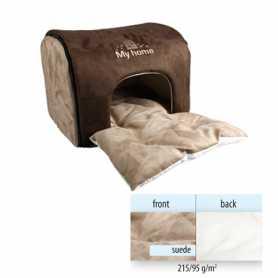 Домик для кошек и собак малых пород с уникальной двойной подушкой коричневый Flamingo My Home Brown, 45х35х30см фото