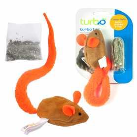 Интерактивная игрушка для котов Coastal Turbo Tail Mouse Catnip, оранжевый хвост, кошачья мята, 7,5х4,5 фото