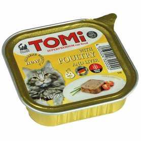 Корм для кошек TOMi poultry liver, супер премиум, паштет, птица, печень, 100г фото
