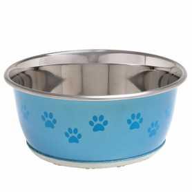 Миска для собак и кошек Flamingo Bowl Selecta+Paw с рисунком лапы, нержавейка, прорезиненное дно, 0,95л, 16см фото