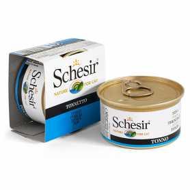 Натуральные консервы для кошек Schesir Tuna, влажный корм, тунец в желе, банка, 85г фото