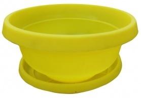 Горшок Фиалка с поддоном, D145, 0.6л, 145х70х70, желтый фото