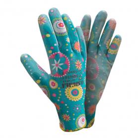 Перчатки ТМ Sigma трикотаж с частичным ПУ покрытием р8 (синие манжет) 1/12, 9446561-7439 фото