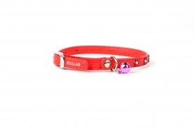 32553 Ошейник 'CoLLaR GLAMOUR' с резинкой, клеевыми стразами 'Цветок' д / кошек (шир.9мм, дл.22-30см) красный фото