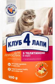 4 лапы Премиум пауч телятина в соусе взрозлые коты 100 г фото
