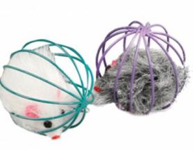 502252 Karlie-Flamingo WIRE BALL WITH MOUSE мышка в клетке игрушка д / кошек 6 см (24 / уп) фото
