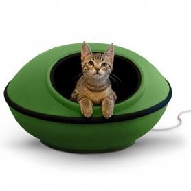 5382 Thermo-Mod Dream Pod лежак-дом с электроподогревом для кошек зеленый/черный 56см 4W фото