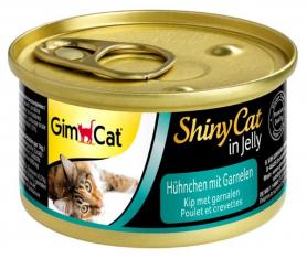 413327 Гимкет ШайниКет консервированный корм для кошек всех пород, курица и креветки, 70 г фото