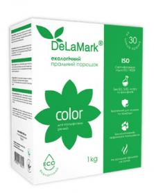 Экологичный концетрированый безфосфатный стиральный порошок для цветных вещей, De La Mark,1кг фото