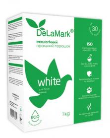 Экологичный концетрированый безфосфатный стиральный порошок с кислородным отбеливанием для белого, De La Mark,1кг фото