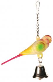 5309 Попугайчик с колокольчиком на цепочке 9 см фото