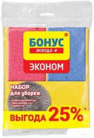 Набор для уборки 'Эконом', Салфетка виск. + Губка кух. + Скребок, БОНУС, 18200700 фото
