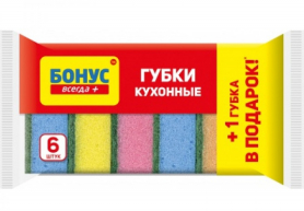 Губка кухонная, 5+1шт, БОНУС, 15100120 фото