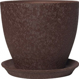 Горшок Магнолия, 16х19х2,5, шелк, шоколад, керамика, 10921536 фото
